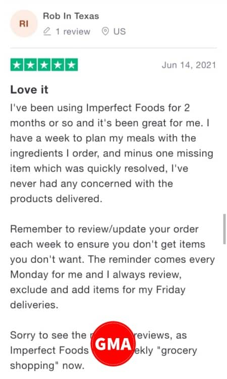 Imperfect Foods customer review 1