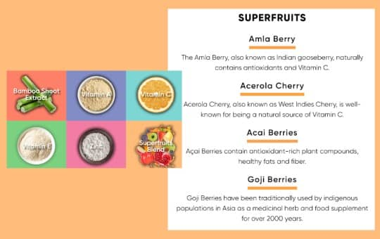 superfruits listed in goli's superfruits gummies